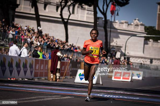 Mulu Melka Diro during Rome Marathon 2016 The winners of the marathon in Rome 2016 Kenyan Amos Kipruto was the first to cross the finish line with a...