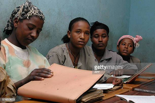 Mulu Milka attends a class at a school in Alem Gena 30 kms southwest of Addis Ababa 04 May 2006 Mulu escaped twice in the last year from forced...