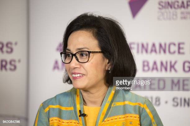 Mulyani Indrawati Indonesia's finance minister listens during a Bloomberg Television interview in Singapore on Thursday April 5 2018Indonesias...