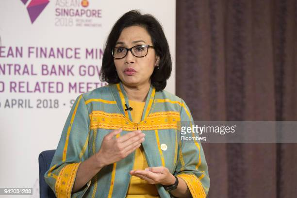 Mulyani Indrawati Indonesia's finance minister speaks during a Bloomberg Television interview in Singapore on Thursday April 5 2018Indonesias economy...