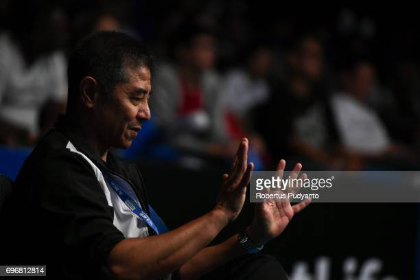 Mulyo Handoyo Indian Prannoy's coach is seen during Mens Single Semifinal match of the BCA Indonesia Open 2017 at Plenary Hall Jakarta Convention...