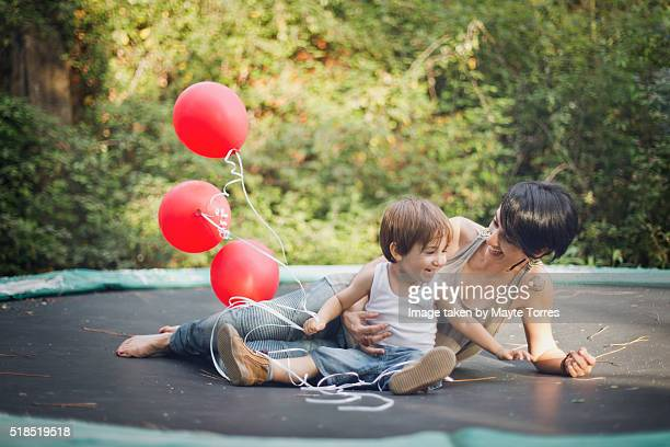 Mum and boy with balloons