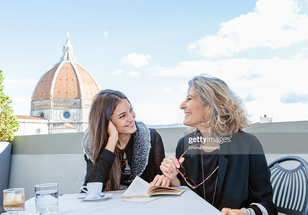 mum and daughter on holiday at Florence Dome : Stock Photo