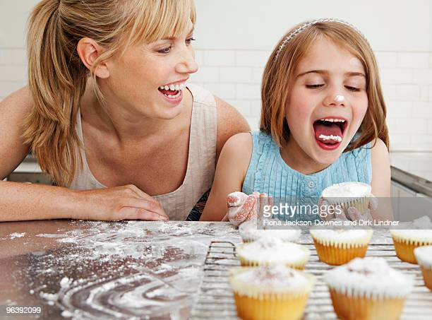 Mum and daughter with cakes