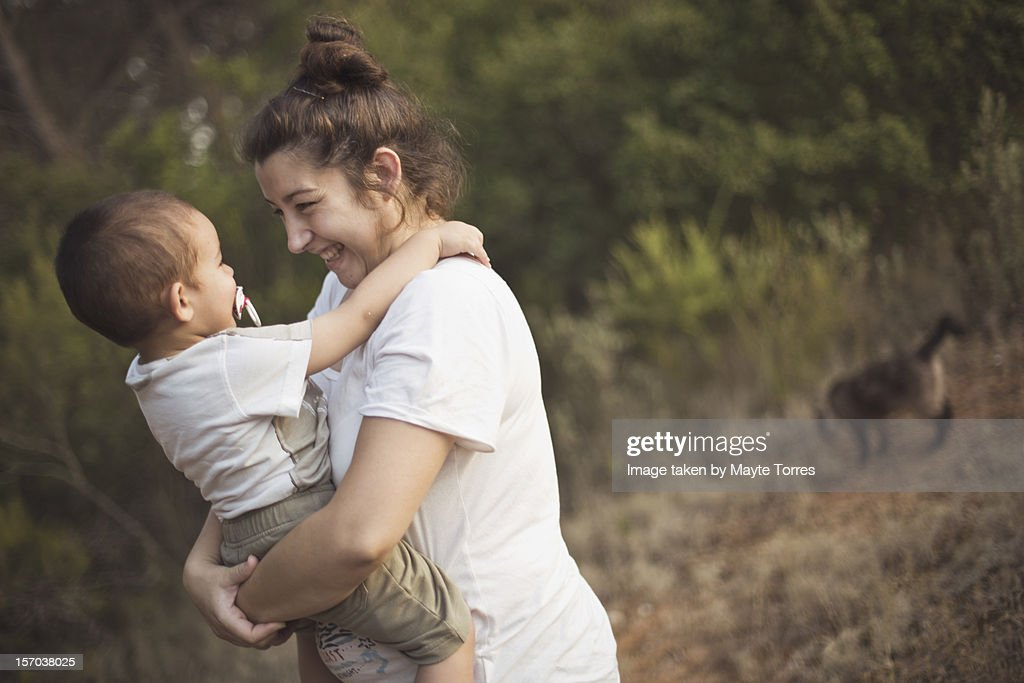 Mum, baby and cat : Stock Photo