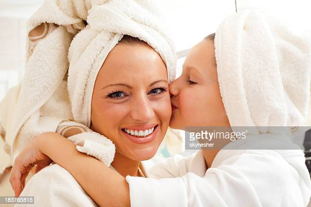 Mum with daughter after bathing.