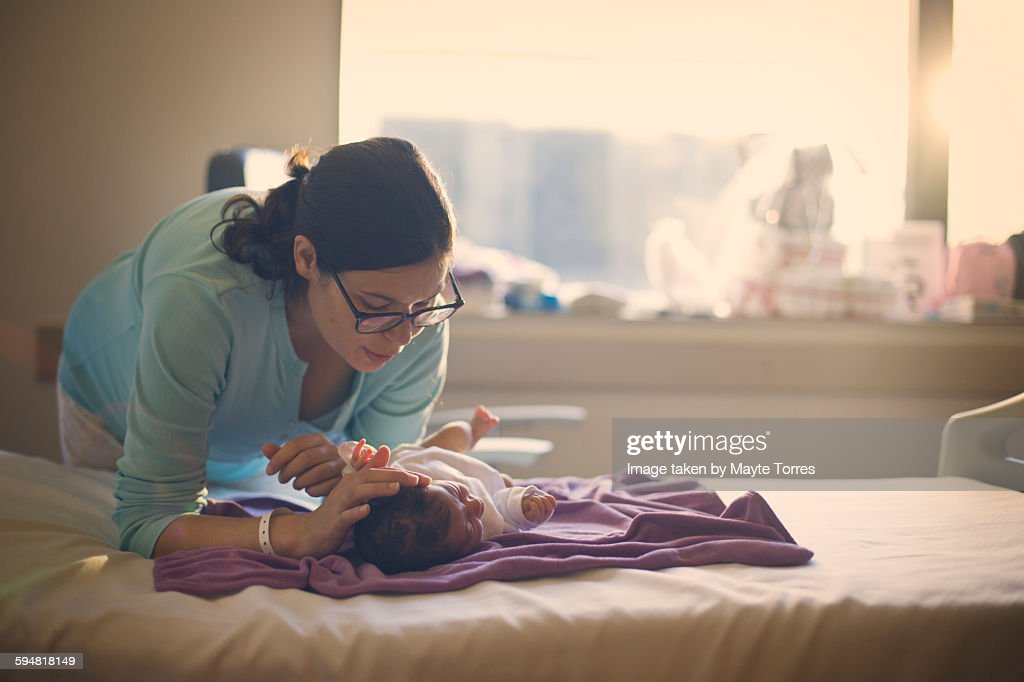Mum with newborn at the hospital : Stock Photo