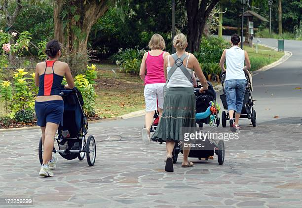 Mum with strollers in the park (Landscape)