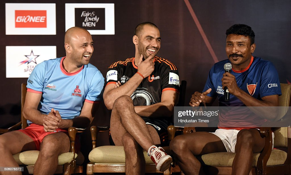 Press conference of star sports pro kabaddi season 3 photos and u mumbai captain anup kumar c jaipur pink panthers captain navneet gautam thecheapjerseys