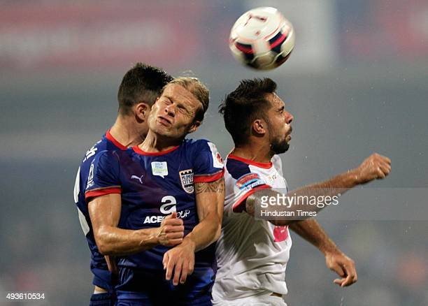 Mumbai City FC player in action against Delhi Dynamos during Indian Super League 2015 football match at DY Patil Stadium on October 21 2015 in Navi...