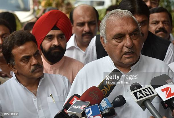 Mumbai Congress President Sanjay Nirupam with former Chief Minister of Haryana Bhupinder Singh Hooda addressing media after the party internal...