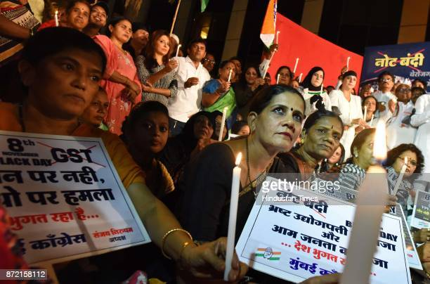 Mumbai Congress workers held candle light vigil and observed 'Black Day' to protest against Demonetisation on November 8 2017 in Mumbai India After...