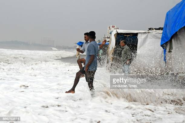 Mumbai experiences high tide due to side effect of Cyclone Ockhi at Versova Beach on December 4 2017 in Mumbai India Maharashtra which is receiving...