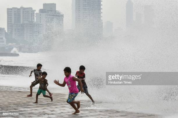 Mumbai experiences high tide due to side effect of Cyclone Ockhi at Worli Seaface on December 4 2017 in Mumbai India Maharashtra which is receiving...