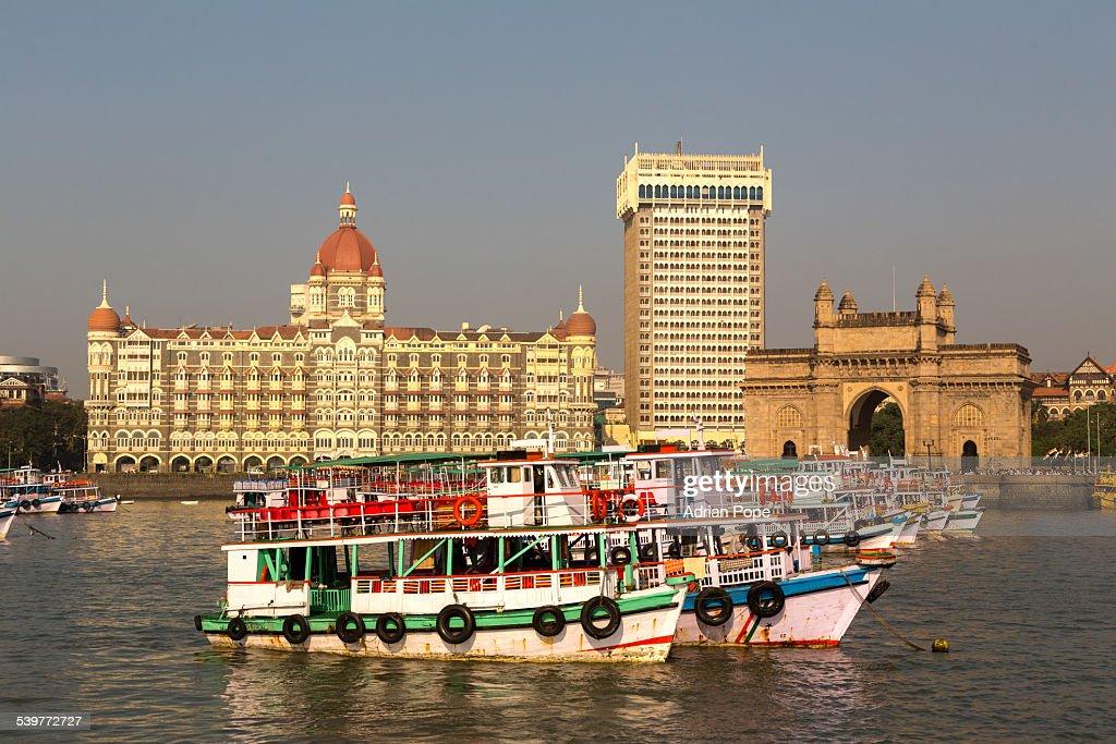 Mumbai Harbour With Gateway Of Indai And Taj Hotel Stock Photo ... on united kingdom, united states of america, indian people, taj mahal, sri lanka, south africa,