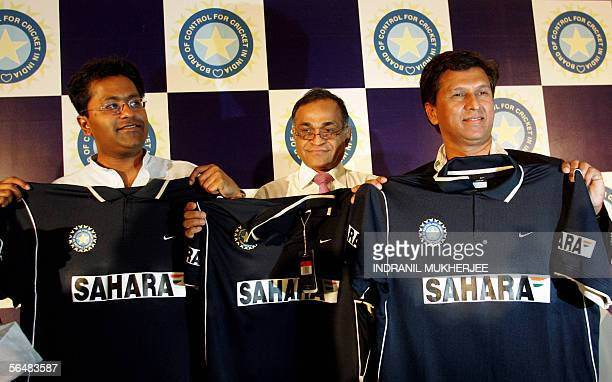 Board of Control for Cricket in India VicePresident Lalit Modi secretary Niranjan Shah and Chairman of Selectors Kiran More pose for photographers as...