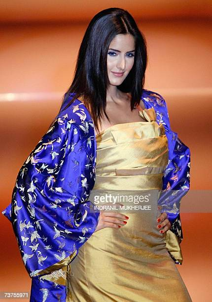 Bollywood actress Katrina Kaif displays a creation by Indian designer Narendra Kumar during the grand finale on the fifth and final day of the Lakme...