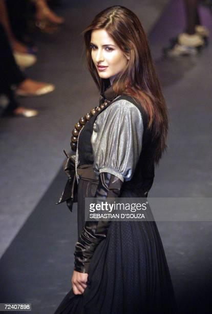 Indian Bollywood actress Katrina Kaif displays collection by designer Sabyasachi Mukherjee at the finale of the ongoing Lakme Fashion Week at the...