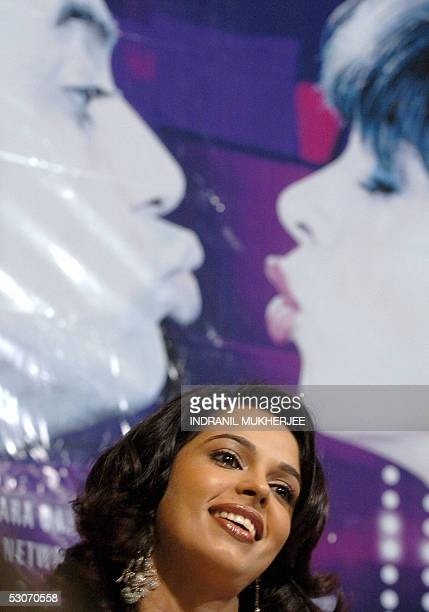 Indian film actress Mallika Sherawat speaks at a function to promote her latest film Bachke Rehana Re Baba in Mumbai 15 June 2005 The film opens this...