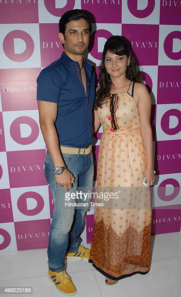 Bollywood actor Sushant Singh Rajput and television actor Ankita Lokhande during the launch of the flagship store for India's First Cinemainspired...