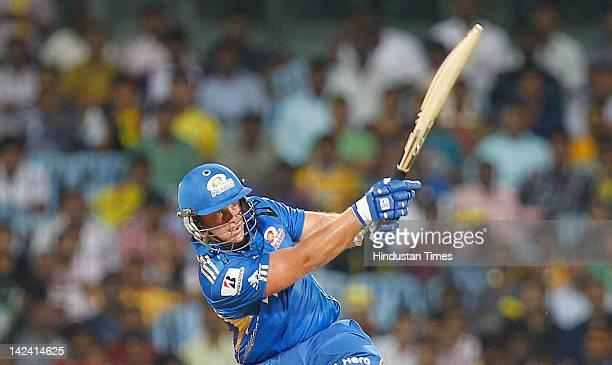 Mumbai Indian batsman Richard Levi plays a shot during inaugural cricket match of Indian Premier League 2012 played between Mumbai Indians And...