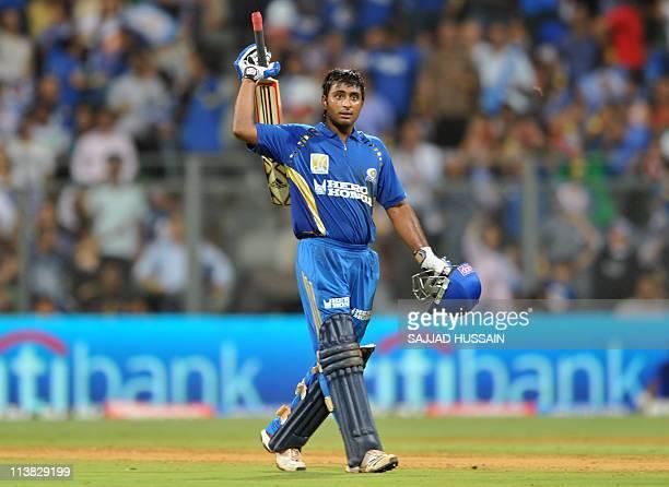 Mumbai Indians batsman Ambati Rayudu celebrates his half century during the IPL Twenty20 cricket match between Mumbai Indians and Delhi Daredevils at...