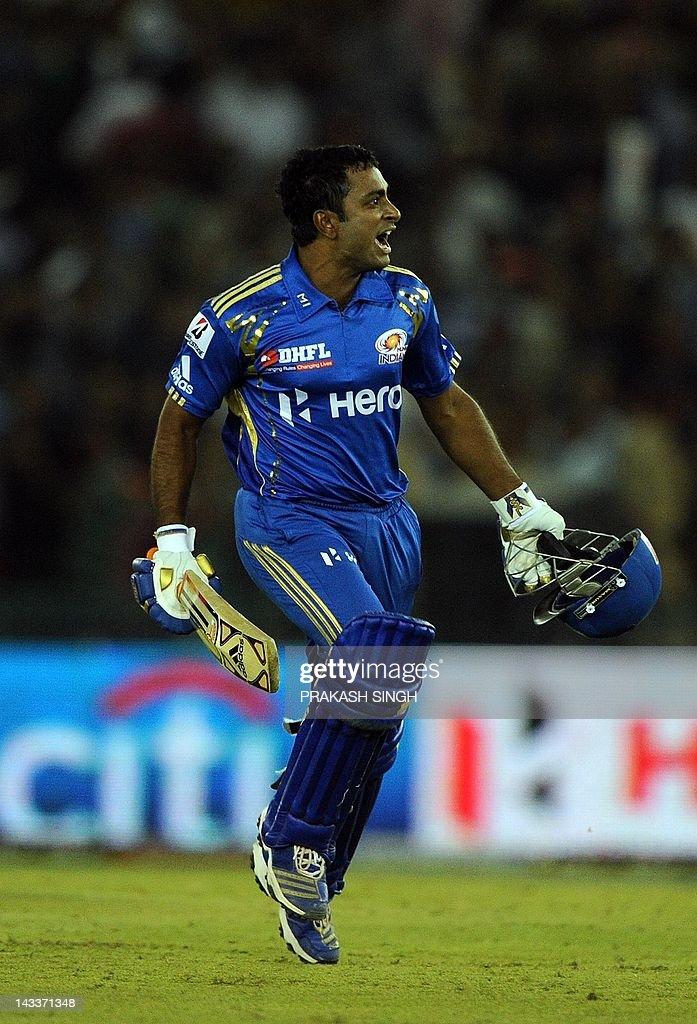 Mumbai Indians batsman Ambati Rayudu celebrates his team's victory during the IPL Twenty20 cricket match between Kings XI Punjab and Mumbai Indians at PCA Stadium in Mohali on April 25, 2012. RESTRICTED TO EDITORIAL USE. MOBILE USE WITHIN NEWS PACKAGE AFP PHOTO/ Prakash SINGH