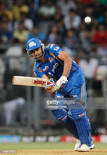 Mumbai Indians batsman Rohit Sharma plays a shot during IPL 5 T20 cricket match played between Mumbai Indians And Deccan Chargers at Wankhede stadium...