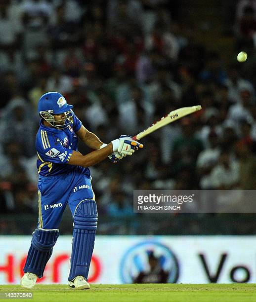 Mumbai Indians Batsman Rohit Sharma plays a shot during the IPL Twenty20 cricket match between Kings XI Punjab and Mumbai Indians at PCA Stadium in...