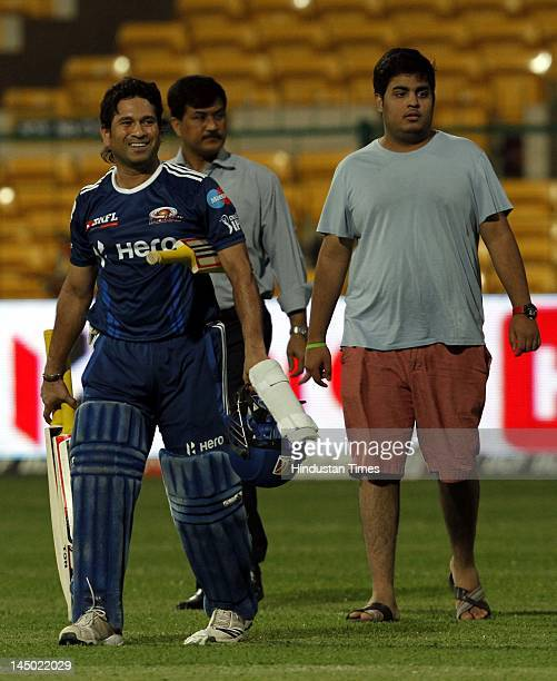 Mumbai Indians Batsman Sachin Tendulkar with Anant Ambani son of Mukesh Ambani and owner of Mumbai Indians during the team practice session at M...