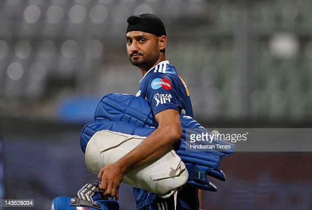 Mumbai Indians captain Harbhajan Singh during the practice session at Wankhede Stadium on April 28 2012 in Mumbai India