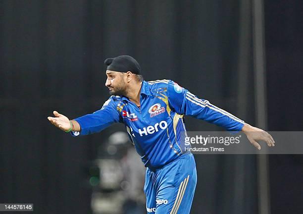 Mumbai Indians captain Harbhajan Singh in action during the IPL T20 match between Mumbai Indians and Kolkatta Knight Riders at Wankhede Stadium on...