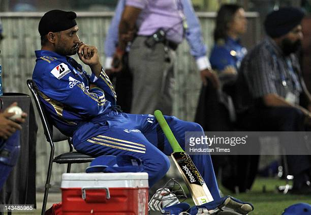 Mumbai Indians captain Harbhajan Singh in pensive mood during IPL 5 T20 cricket match played between Delhi Daredevils and Mumbai Indians at Ferozshah...