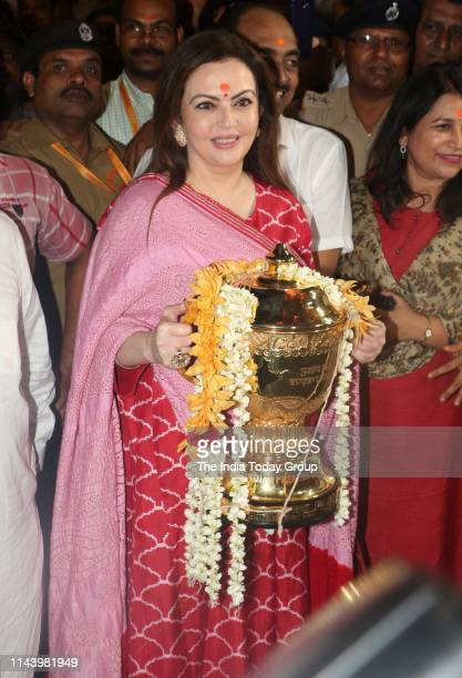 Mumbai Indians Owner, Nita Ambani clicked at Siddhivinayak Temple with IPL 2019 Cup in Mumbai.