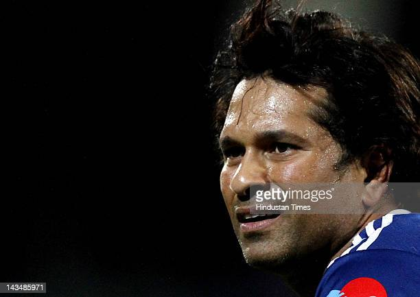Mumbai Indians player Sachin Tendulkar before start of IPL 5 T20 cricket match played between Delhi Daredevils and Mumbai Indians at Ferozshah Kotla...