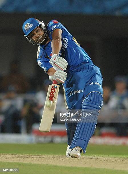 Mumbai Indians Rohit Sharma plays a shot during the IPL Twenty20 cricket match between Deccan Chargers and Mumbai Indians at Dr YS Rajasekhara Reddy...