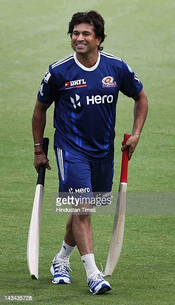 Mumbai Indians Sachin Tendulkar during the practice at Ferozshah Kotla ground on April 26 2012 in New Delhi India According to reports President...