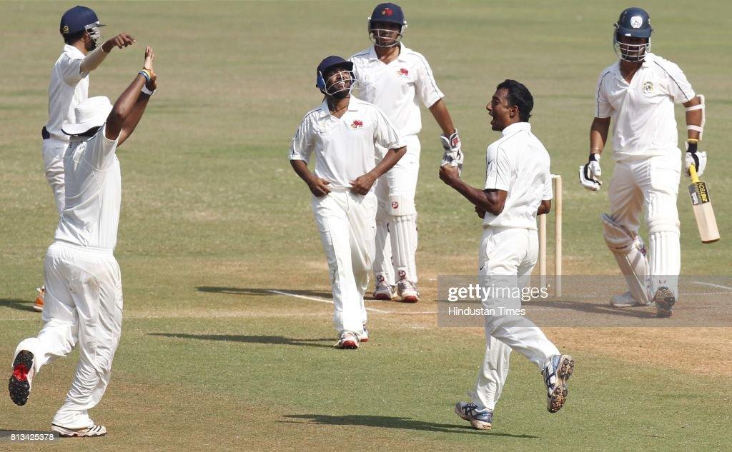 Mumbai player Ankeet Chavan celebrates the wicket of Punjab Player Harmeet Singh during the match between Mumbai and Punjab at Wankhede Stadium in...