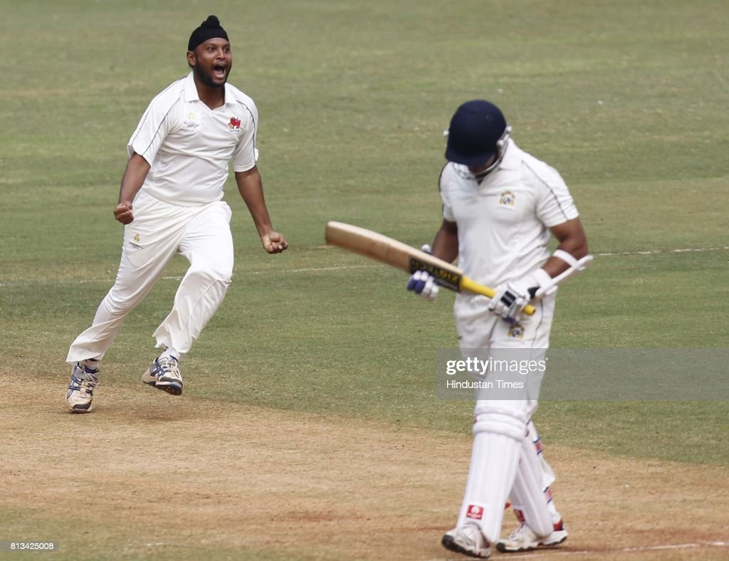 Mumbai player Balwinder Singh Sandhu Jr celebrates the wicket of Punjabi Player Sarul Kanwar during the match between Mumbai and Punjab at Wankhede...