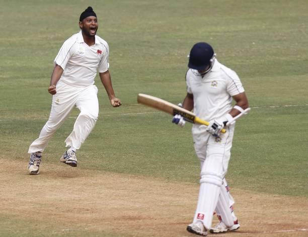 Mumbai player Balwinder Singh Sandhu Jr celebrates the wicket of Punjabi Player Sarul Kanwar during the match between Mumbai and Punjab at Wankhede...