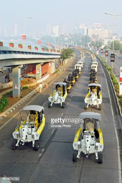 Mumbai police commandos in amphibious vehicles at, Marine Drive, Bombay, Mumbai, Maharashtra, India