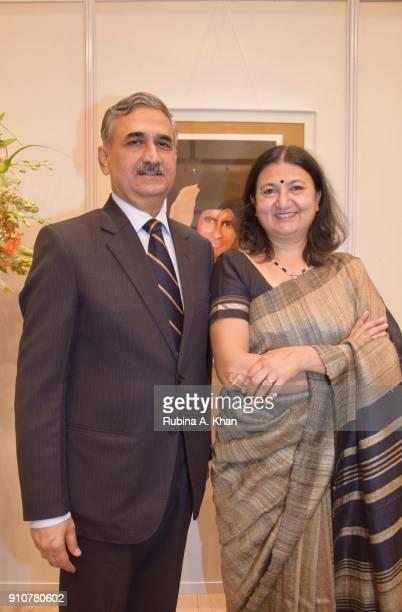 Mumbai Police Commissioner Datta Padsalgikar and his wife Aditi at Dilip De's Smartphone School Of Art Exhibit 'Celebration Of The Unexpected' on...