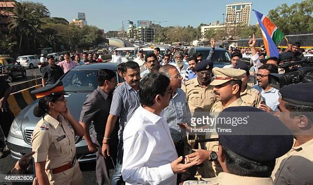 Mumbai Police detained MNS Chief Raj Thackeray along with Bala Nadgaonkar and Nitin Sardesai on Chunabhatti Bridge before Rasta Roko on February 12...