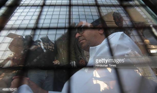 Mumbai Police detained MNS Chief Raj Thackeray on Chunabhatti Bridge before Rasta Roko on February 12 2014 in Mumbai India MNS leader was later freed...