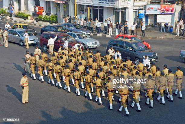 Mumbai police marching at marine drive, Bombay, Mumbai, Maharashtra, India