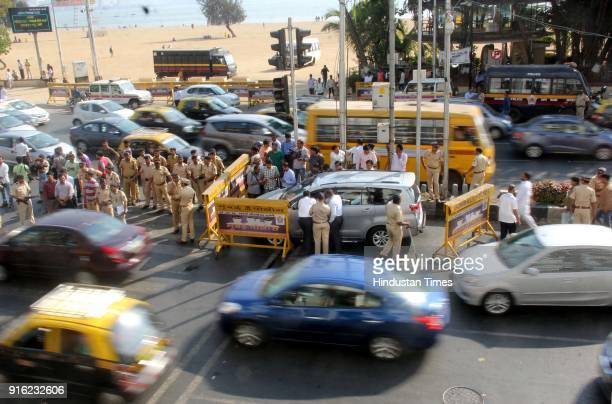 Mumbai Police stop Sanjay Nirupam car at Girgaon chowpatty he was on the way to protest against the statement of BJP president Amit Shah that selling...