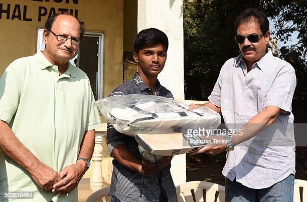 Mumbai school cricketer Pranav Dhanawade being facilitated by former cricket captain Dilip Vengsarkar and Ajit Wadekar at Mantunga on January 6 2016...