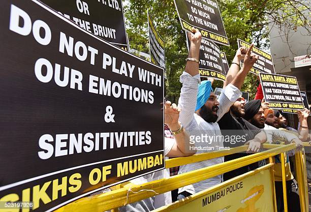 Mumbai Sikh community protests outside Viacom 18 office at Vile Parle near Garware against the release of the movie Santa Banta Pvt. Ltd., on April...