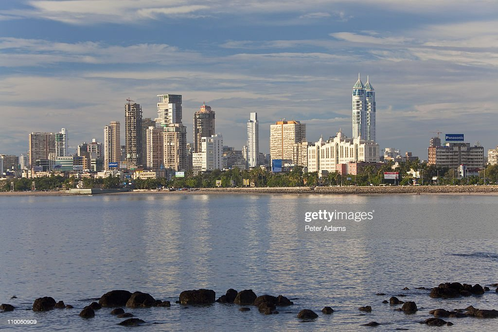 Mumbai skyline along Marine Drive, Mumbai, India : Stock Photo