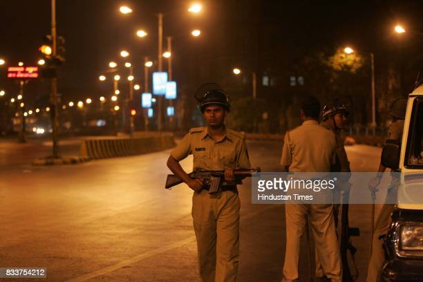 Police personnel during curfew at the CST